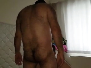 Prudish Turkish bear using a cocksucker's mouth blowjob (gay)